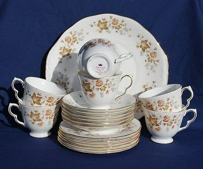 "Six (6) Colclough ""avon"" Bone China Trios & One Sandwich Plate."