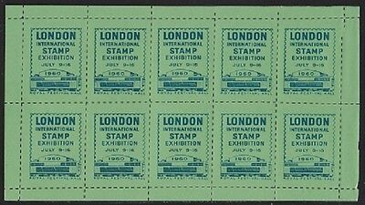 GB. 1960. Royal Festival Hall Stamp Exhibition Green Souvenir Stickers. Good.