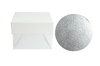 Single Silver Cake Board and White Box Pack - Thick Drum - Wedding & Birthday
