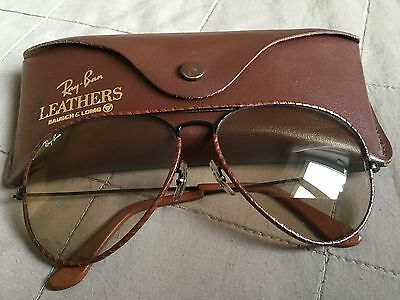 Ray Ban aviator B&L leathers black frame 62-14 RARE new w/out tags Changeable