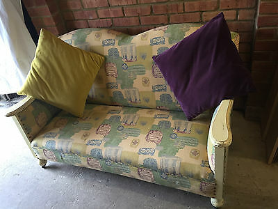 Arts & Crafts Sofa 2 Seater newly upholstered Blue/Yellow