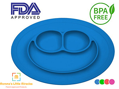 Light Blue Silicone Baby Placemat - Round No Slip With Built in Plate/Bowl/Tray