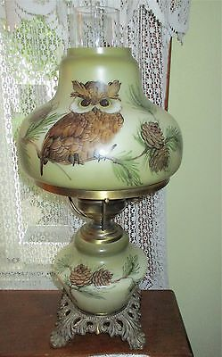 Owl Pine Cone Gone With The Wind Style Hand Painted Parlor Lamp, Vintage