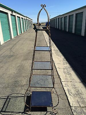"Beautiful Antique Iron Wrought Glass Shelves 70"" Tall"