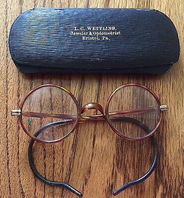 Antique Horn Rimmed Bifocal Glasses With Case GF Shur On