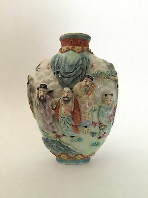 """Antique Chinese Qing Dynasty Famille Rose Molded """"Eight Immortals"""" Snuff Bottle"""