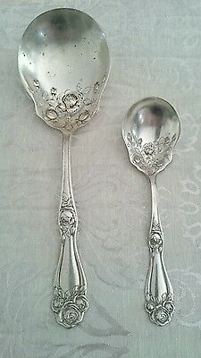 1847 Rogers Bros American Beauty Xs Triple Plated Serving Spoon & Sugar Spoon