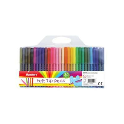 30 Pack Watercolour felt tip Pens in Bright assorted colours