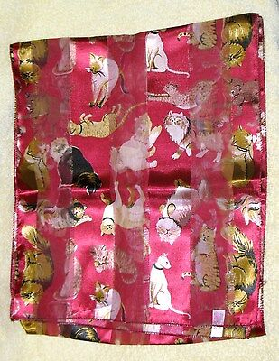 Vintage Cat Red Scarf With Lots Of Cats