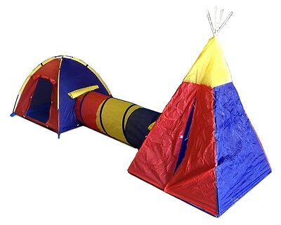 CHILDRENS PLAY TENT SET - 2 ROOMS TUNNELS FUN PLAYHOUSE CASTLE New