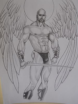 """MALE FIGURE DRAWING...""""GLADIATOR""""....gay interest...9 X 12 IN."""