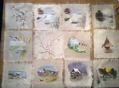 Danish Royal Family 12 Hand Painted, Most Signed EH, Silk Coasters Antique