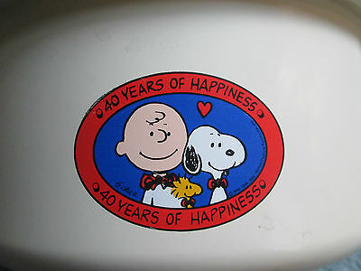 """Peanuts Chex Mix Snack Bowl  """"40th Years of Happiness"""" Snoopy Charlie Brown"""