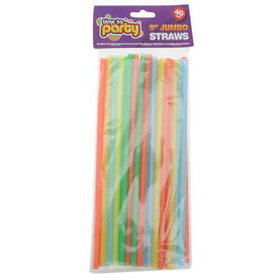 "9"" long Colourful Jumbo Straws 40pk Great for special occasions & parties"