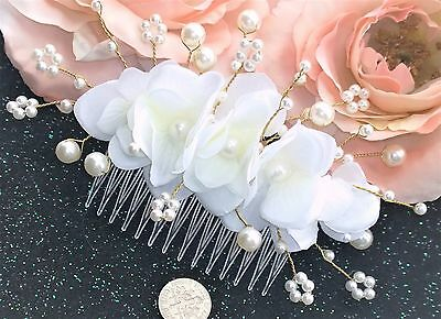 """Ivory White Silk Flowers Pearls Barrette Comb 5"""" Wedding Bride Hair Floral"""
