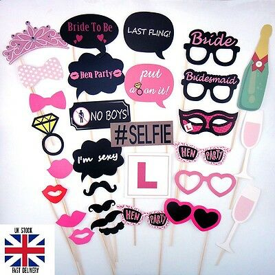 30pcs Party Photo Booth Prop Hen Party Celebration Bride To Be Mustache On Stick