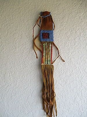 Antique Lakota Sioux Beaded and Quilled Charm Bag