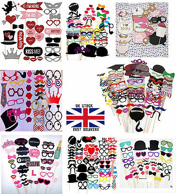 Photo Booth Props Selfie Wedding Hen Party Birth day Baby Shower Mustache Stick