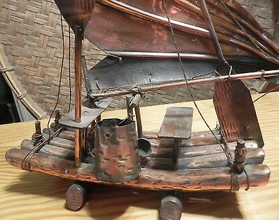 14 1/2'' Hong Kong Junk Copper Model Ship Boat with Utensils Vintage Metal Sail