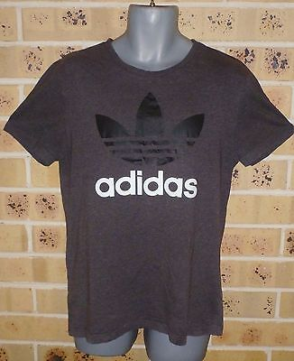 ADIDAS Large Mens Tee Fitted 100% Cotton T Shirt Dark Grey Pre Owned