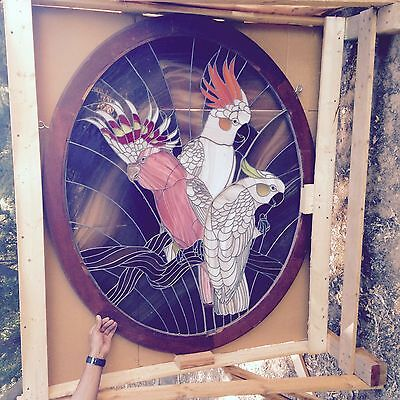 Custom Cockatoo Stained Glass with Cherry Frame - $3800