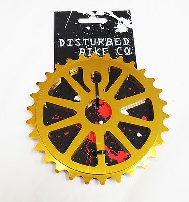Disturbed BMX Chainring / Sprocket 28th or 30th Gold Alloy 1/2 x 1/8