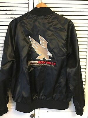 Vintage Roy Hill's Drag Racing School Rockingham Dragway Satin Jacket USA XL