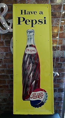 "Large 46"" Vintage Pepsi Cola Soda Have A Pepsi Metal Advertising Sign 1950s"