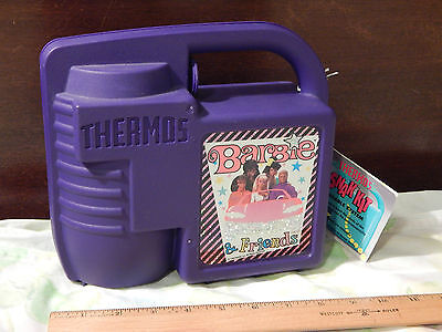 "(1993) Barbie & Friends_Snak Kit ""Reusable System"" Lunchbox w/ Thermos_Mattel"