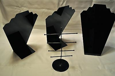 3 Black Plexiglass Necklace Easel Stands Jewelry Displays + 1Earring Stand