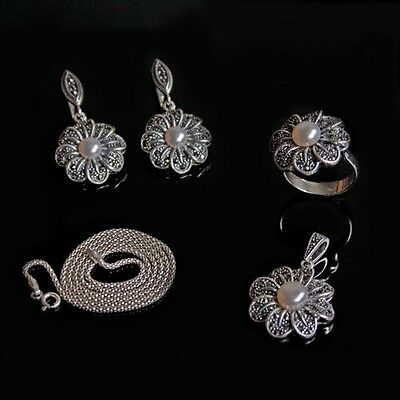 "Express Marcasite 18"" Sterling Silver Pendant Ring Earrings Set Pearl for Women"