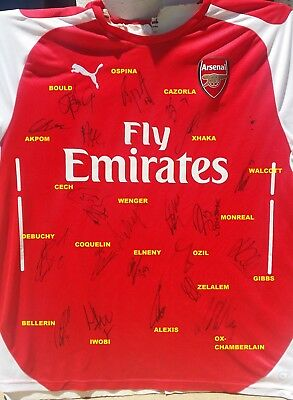 Arsenal Signed Shirt Soccer Jersey 21 Auto Proof Alexis+Ozil+Walcott+Cech+Wenger