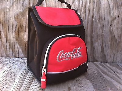 Coca-Cola Insulated Lunch Bag Coke Bottle Zipper Pull 2 Compartments With Handle
