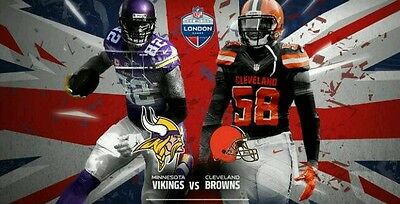 NFL Tickets & Hotel Package for 2 Vikings Browns *Top Seats* London Twickenham