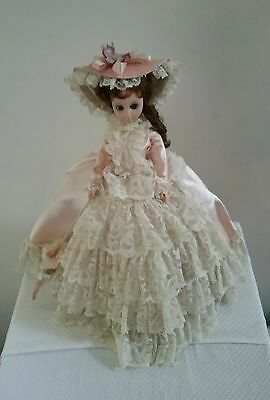 BOUTIQUE DOLL CORPORATION VICTORIAN GIRL DOLL in PINK ROYALTY DRESS MADE in USA