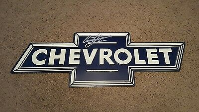 Courtney Force Signed Autographed Chevrolet Bow Tie  Metal Sign Man Cave Nhra