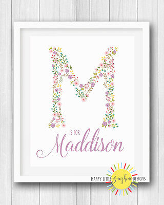 "Girl Nursery Room Print Wall Art Decor 8""x10"" Personalised Name Floral Letter"