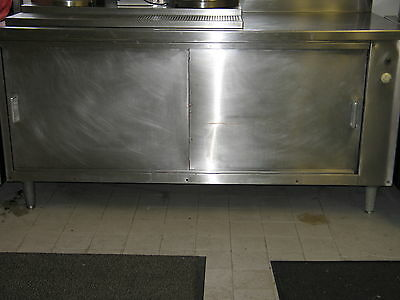 Restaurant Commercial Kitchen Stainless Steel Hot Cupboard With 2 Sliding Doors