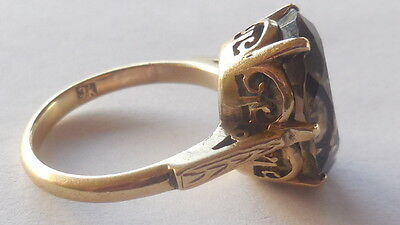 Pretty Vintage 60's Yellow Gold 9ct, Smokey Quartz ring, size 8 (P), heavy 6 gms