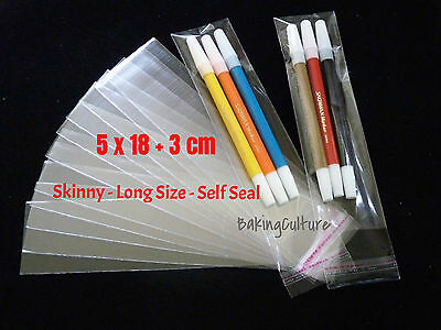 100 CELLOPHANE BAGS - 5 cm x 18 cm +3 cm lip - Long Size - SELF SEAL