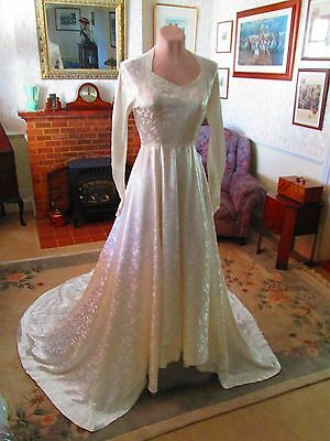 Original Vtg 1940's Satin Brocade Wedding Dress unworn in original box UK Sz 6