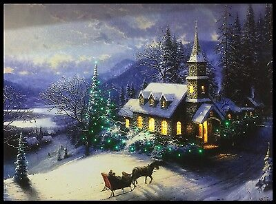 Thomas Kinkade Christmas Picture - Fibre Optic Colour Changing Lights - Canvas