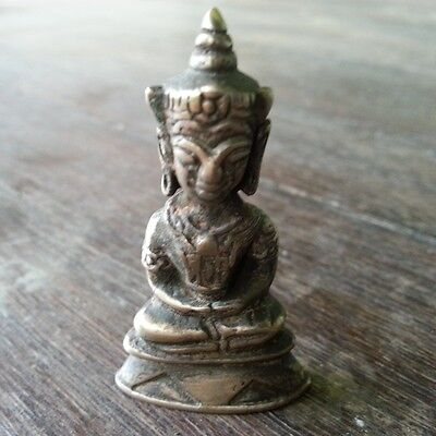 Unique Holy Phra Chai Ngang Amulet Khmer Buddha Statue Antique Lucky Love Rare!
