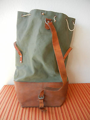 Fine Vintage Swiss Army Military Sea Bag Seesack CH green Canvas + Leather 1968