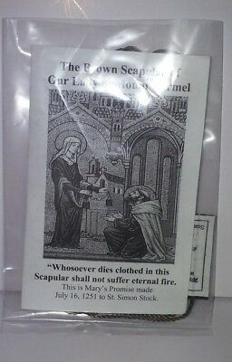 Catholic Blessed Our Lady of Carmel 100% Wool Brown Scapular Necklace w/ Leaflet