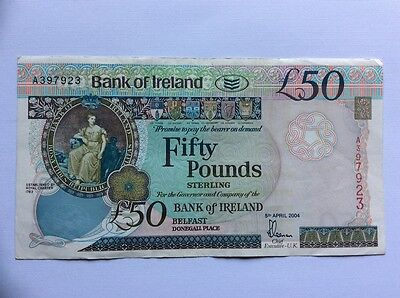 Bank of Ireland £50.00 note. aUNC  condition 2004 issue