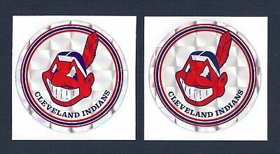 Cleveland Indians MLB Prismatic Decal Stickers Team Logo Lot of (2)