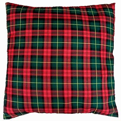 Red and Green Tartan Check Cushion Cover - Christmas Colours