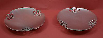 2 superb solid silver pierced Art Deco footed dishes Mappin & webb 1936