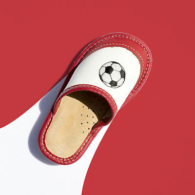 Kids Children Boys Girls Real Leather Slippers Sandals Kapcie Football Red Grey